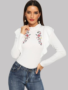 Flower Embroidered Ruffle Trim Top