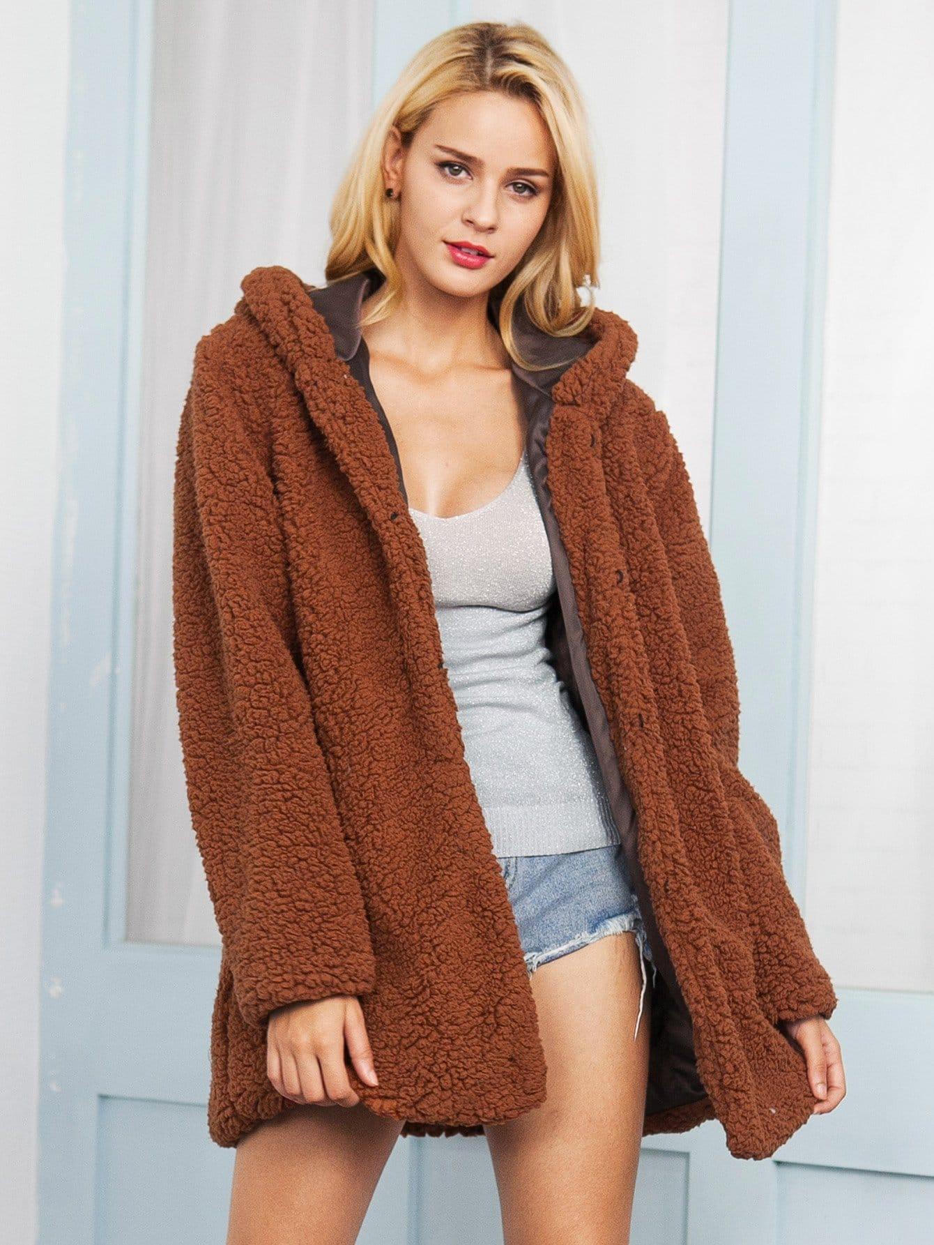 Купить Открытое однотонное пальто тедди с капюшоном, null, SheIn