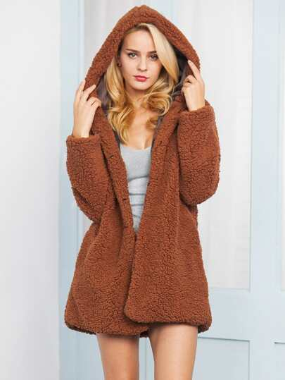 SheIn / Open Front Hooded Solid Teddy Coat