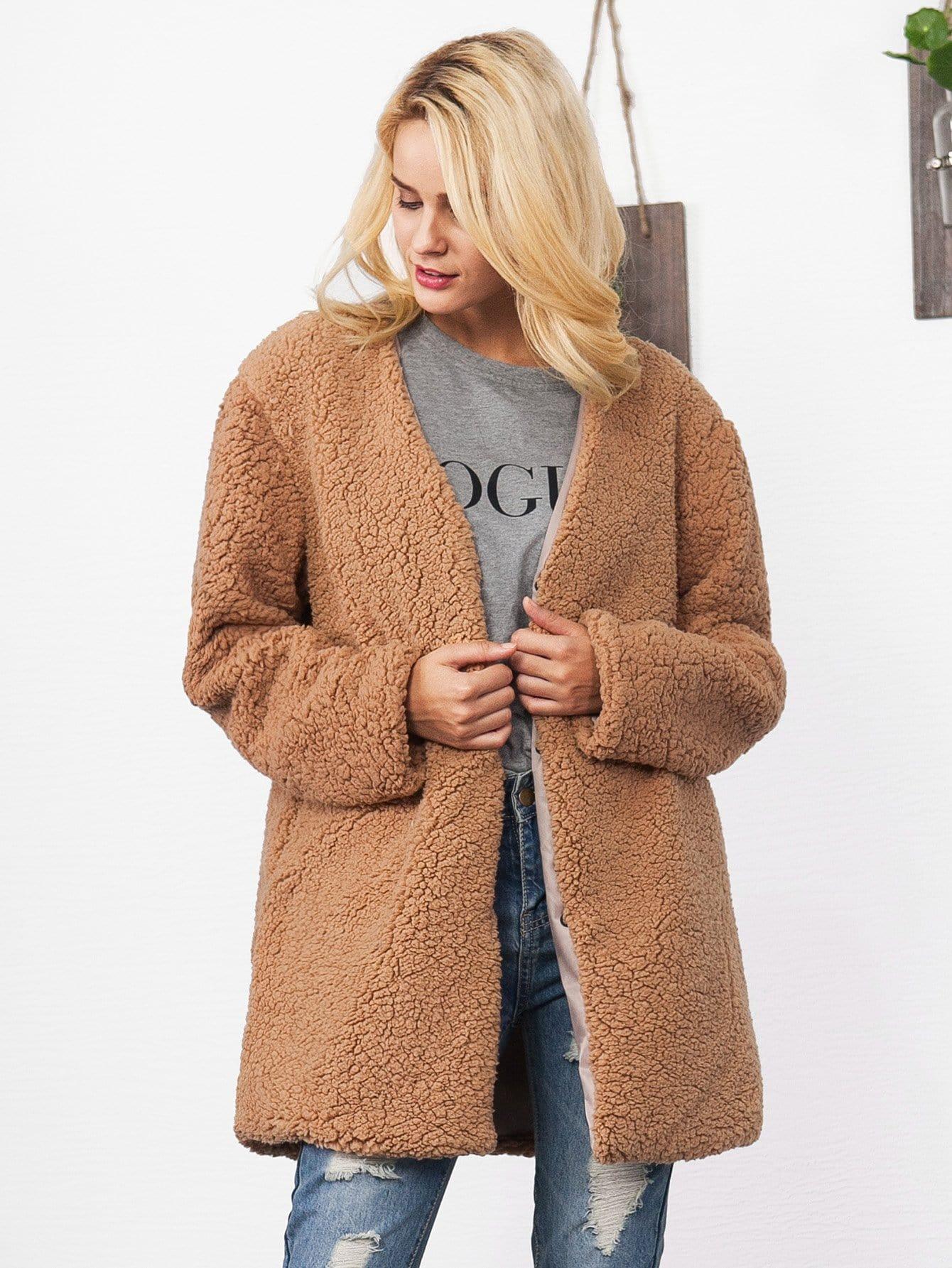Купить Однотонное пальто тедди с карманом, null, SheIn