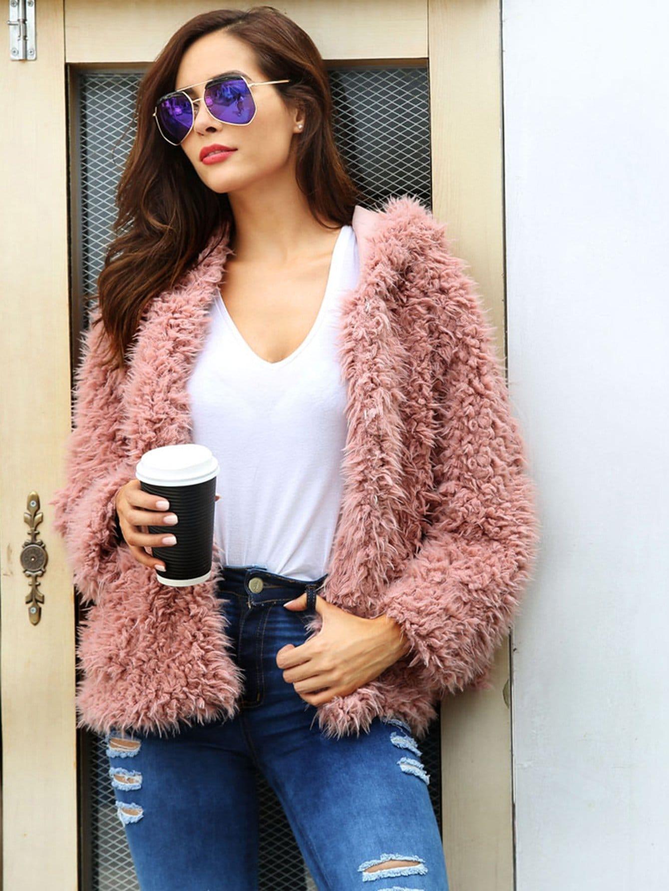 Купить Однотонное пушистое пальто тедди с капюшоном, Giulia, SheIn