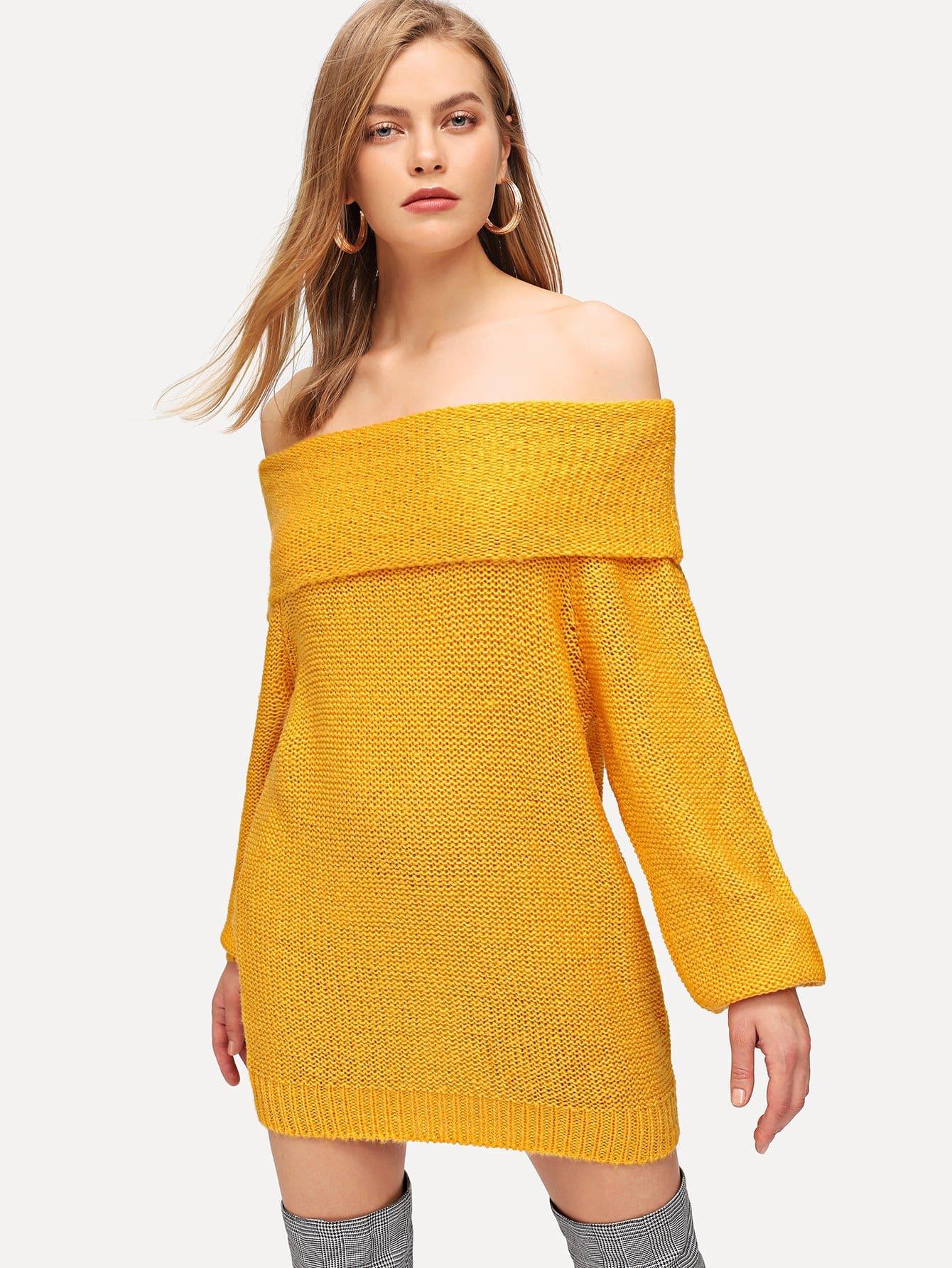 Купить Однотонный свитер с открытыми плечами, Kate C, SheIn