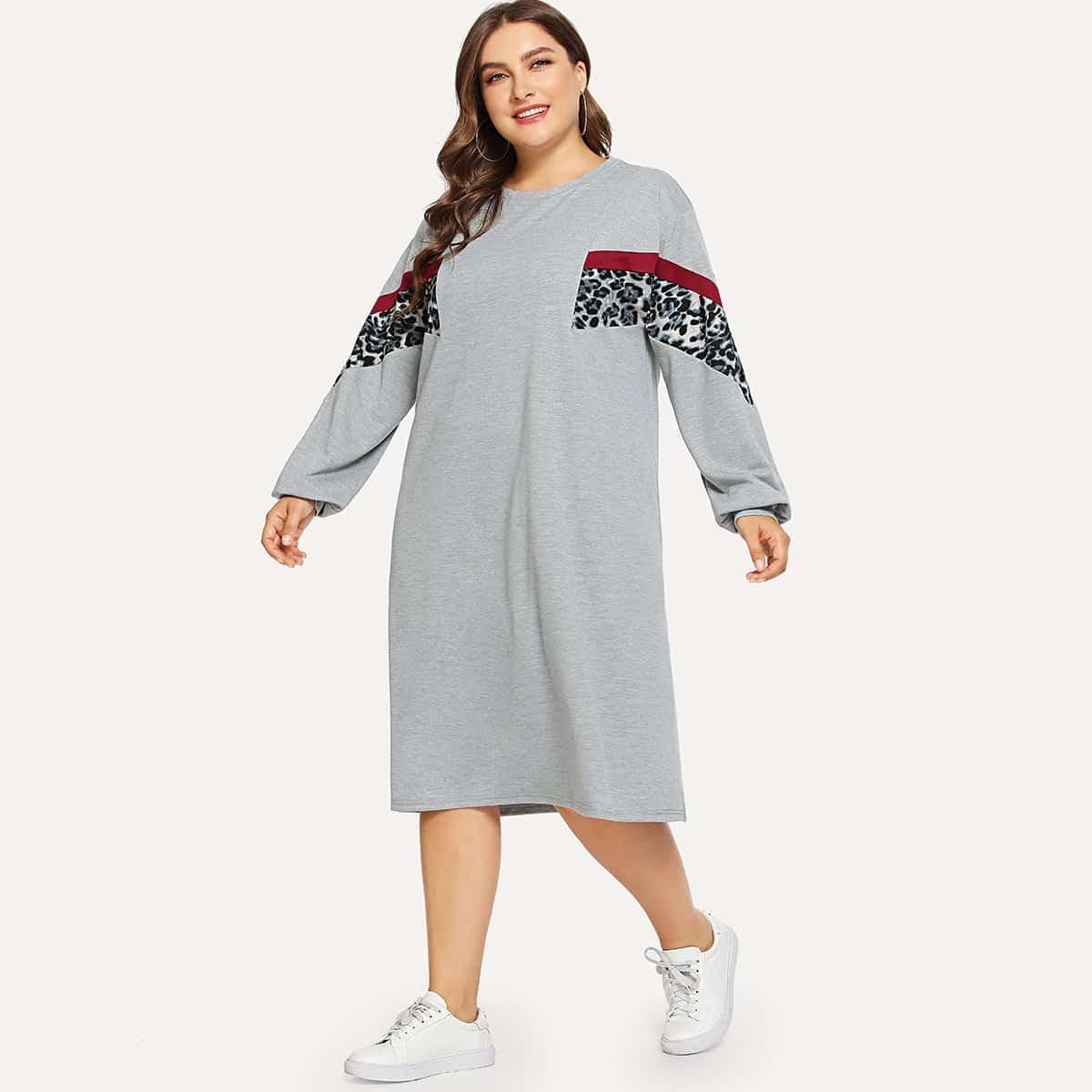 Sweatshirtjurk met luipaardprint