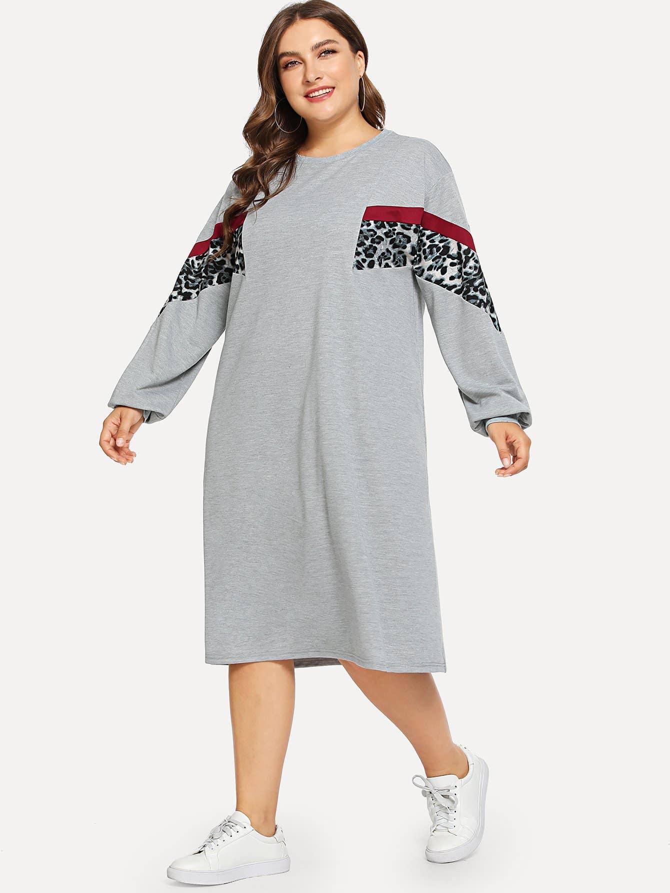 Размера плюс контрастное леопардовое платье-свитшот