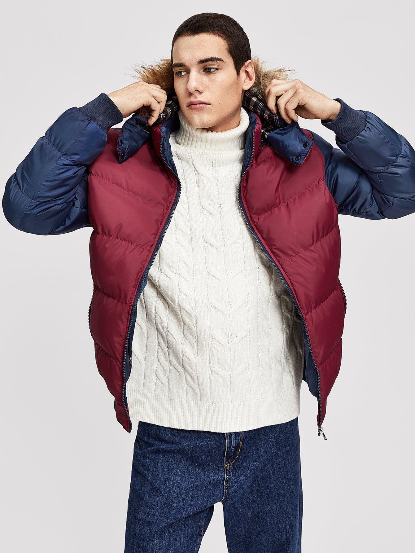 Купить Мужское контрастное подбитое пальто с капюшоном, null, SheIn