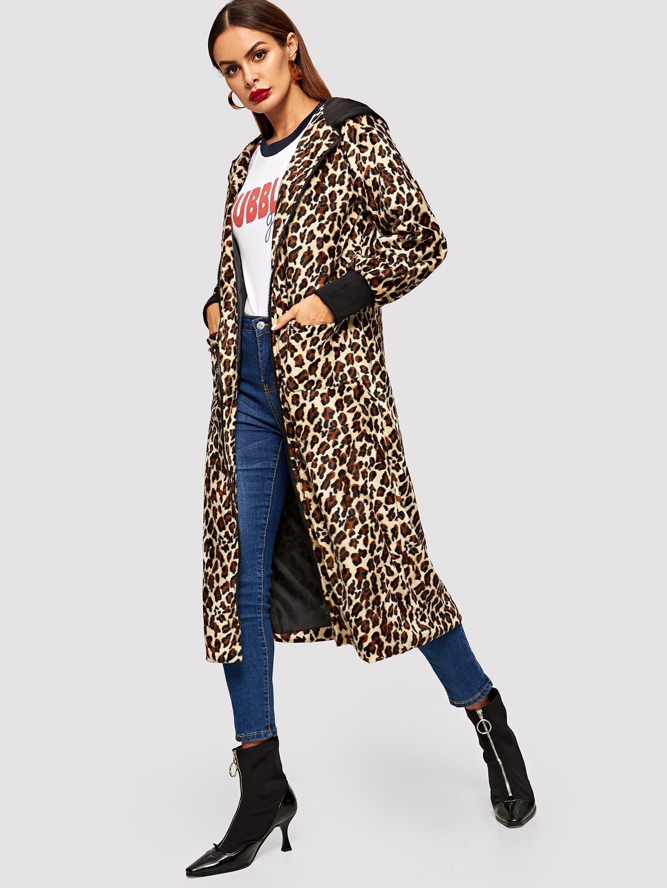 Леопардовое пальто с капюшоном SheIn