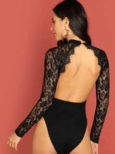 Eyelash Lace Panel Cut Out Front Bodysuit