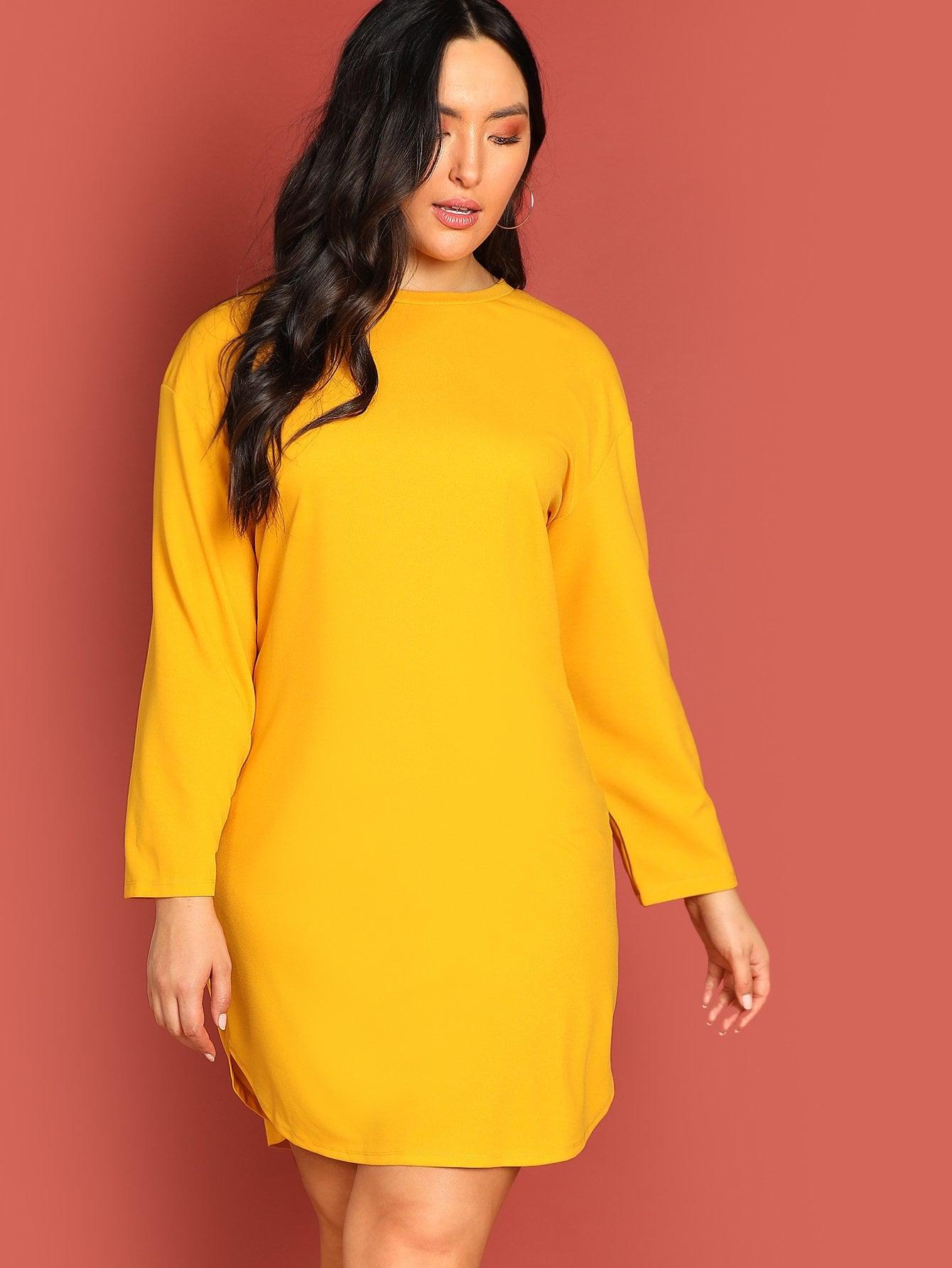 Плюс размеры одноцветное платье