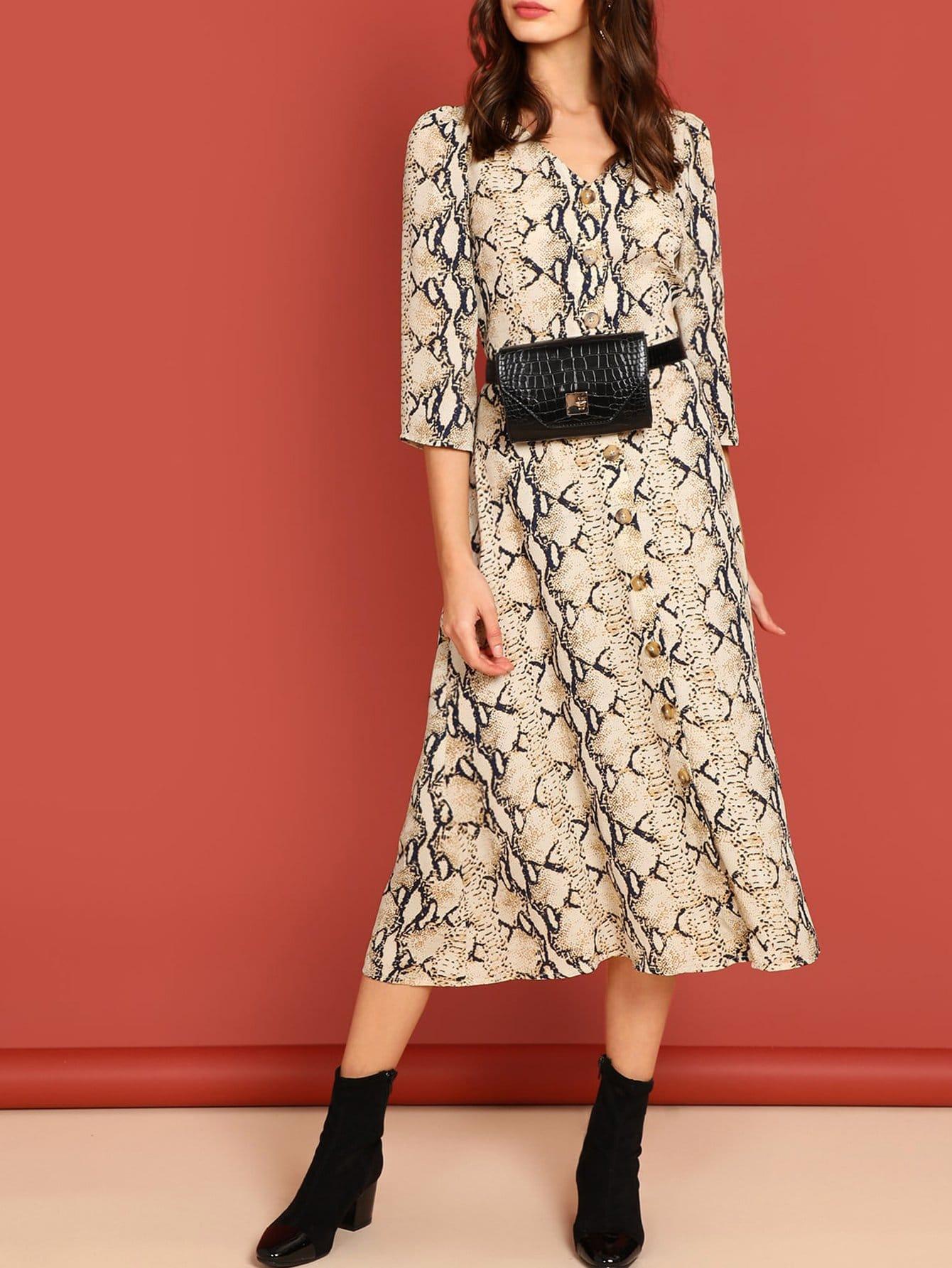 Купить Облегающее платье с принтом змеиной кожи, Beate Muska, SheIn
