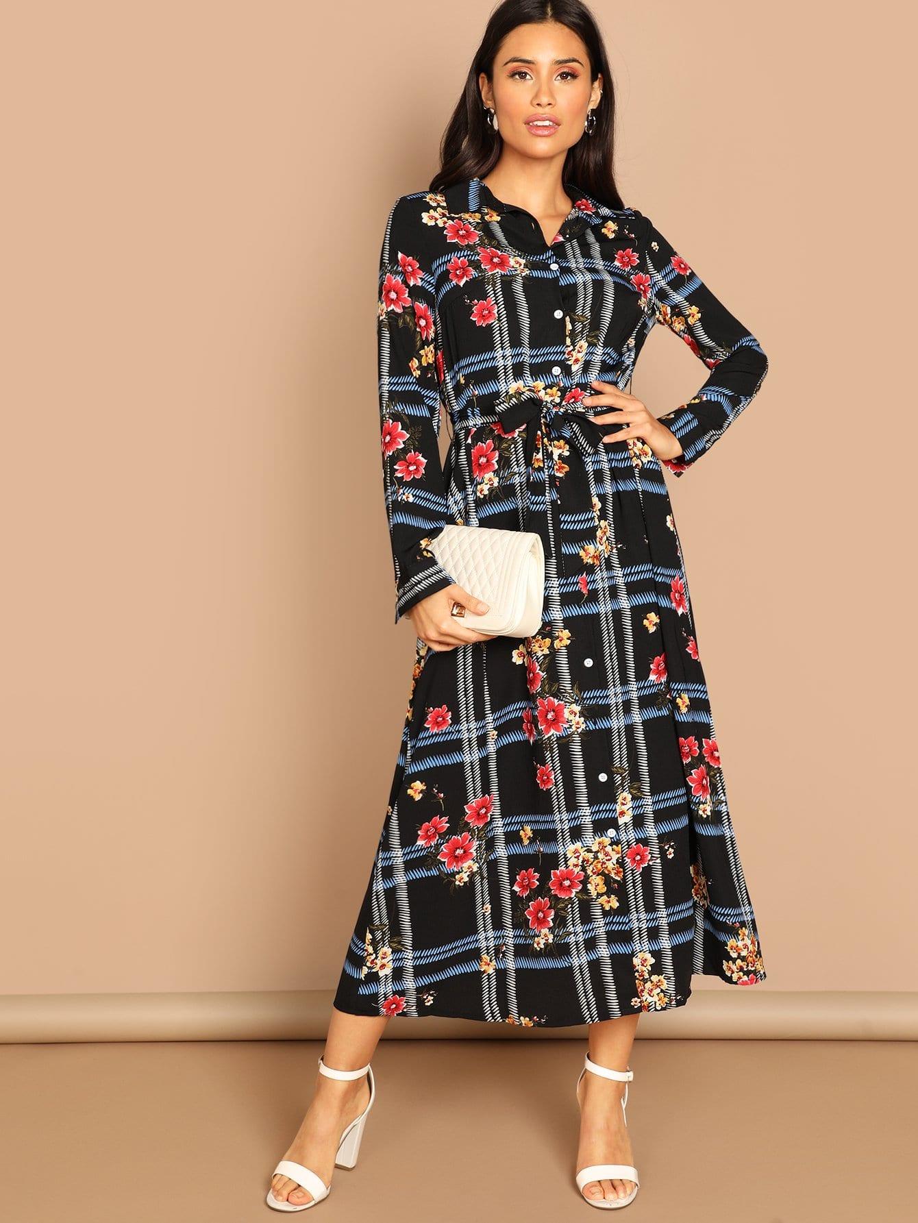 Купить Цветочное платье-рубашка в клетку с поясом, Izzy Marshall, SheIn