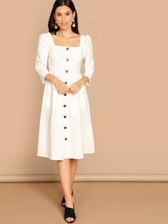 Button & Pocket Front Square Neck Dress