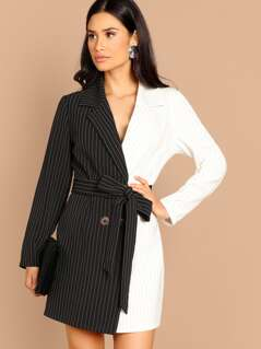 Spliced Striped Belted Blazer Dress