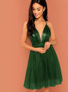Criss Cross Back Sequin Top Tulle Dress