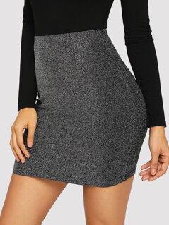 High Waist Metallic Bodycon Skirt
