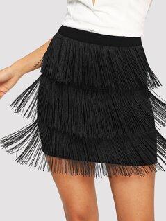Layered Fringe Bodycon Skirt