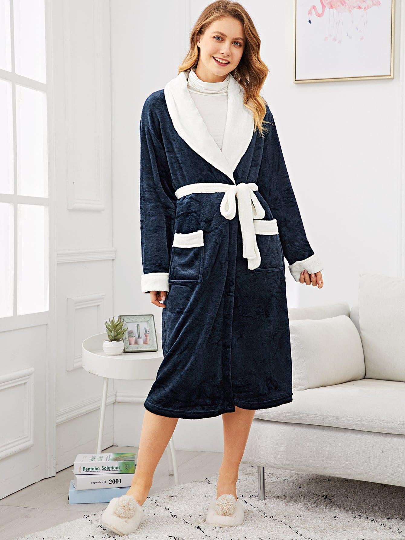 Купить Контрастный пушистый домашний халат с поясом, Nastyab, SheIn