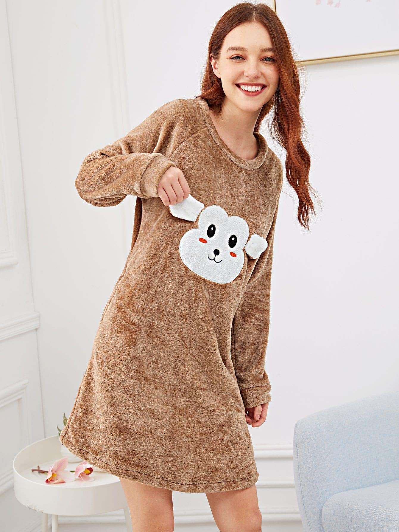 Купить Пушистая ночная сорочка с принтом вышитого обезьяны, Poly, SheIn