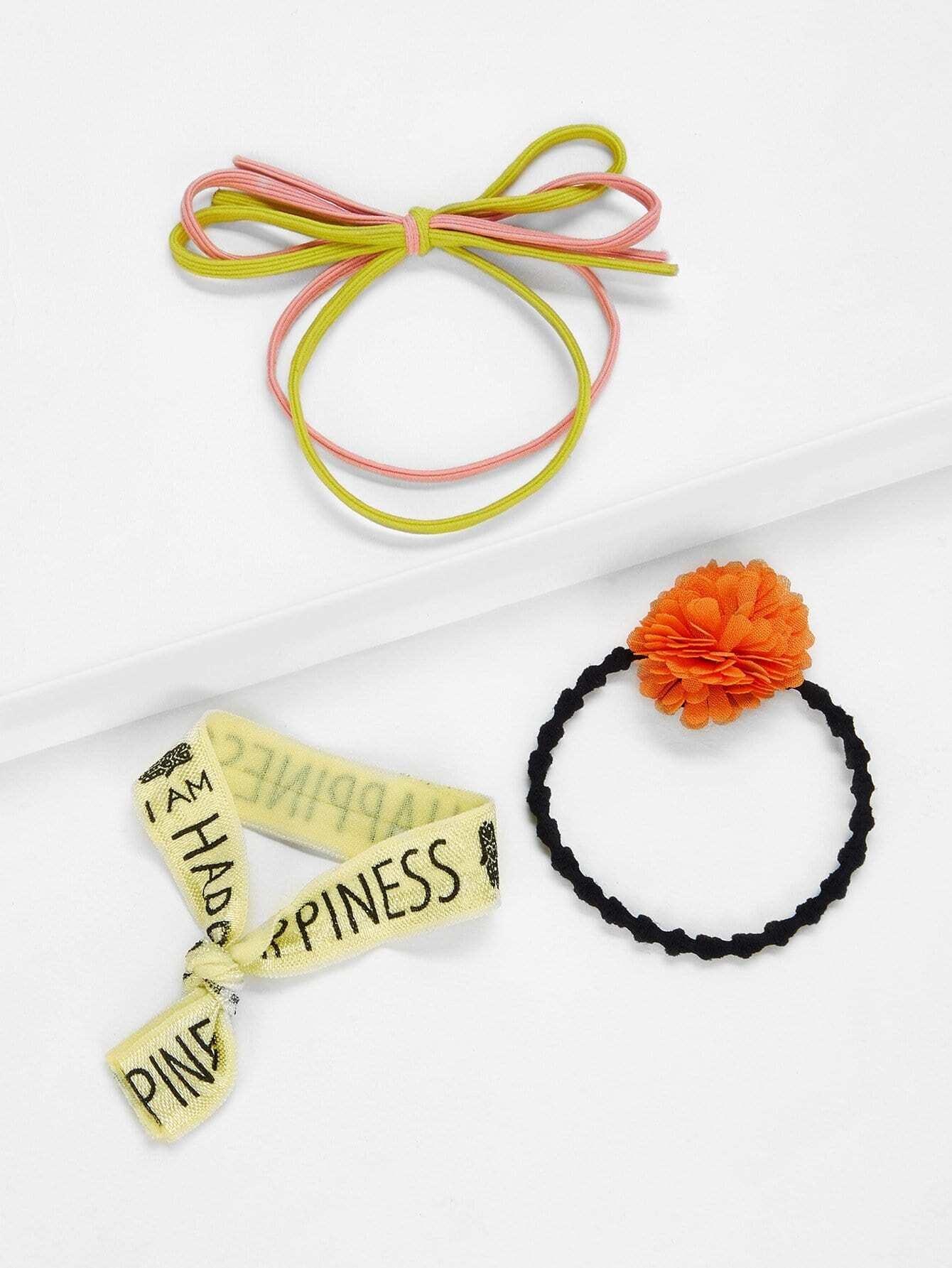 Фото - Резинки для волос с цветком 3шт. от SheIn цвет многоцветный
