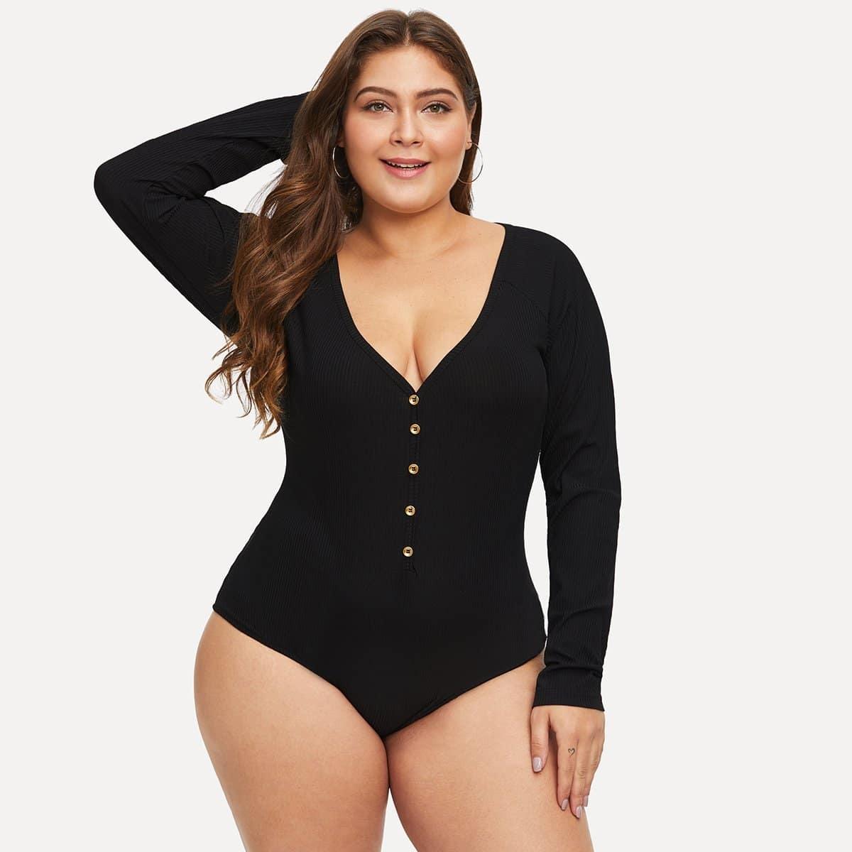 Zwart Sexy Vlak Bodysuits grote maten Knoop