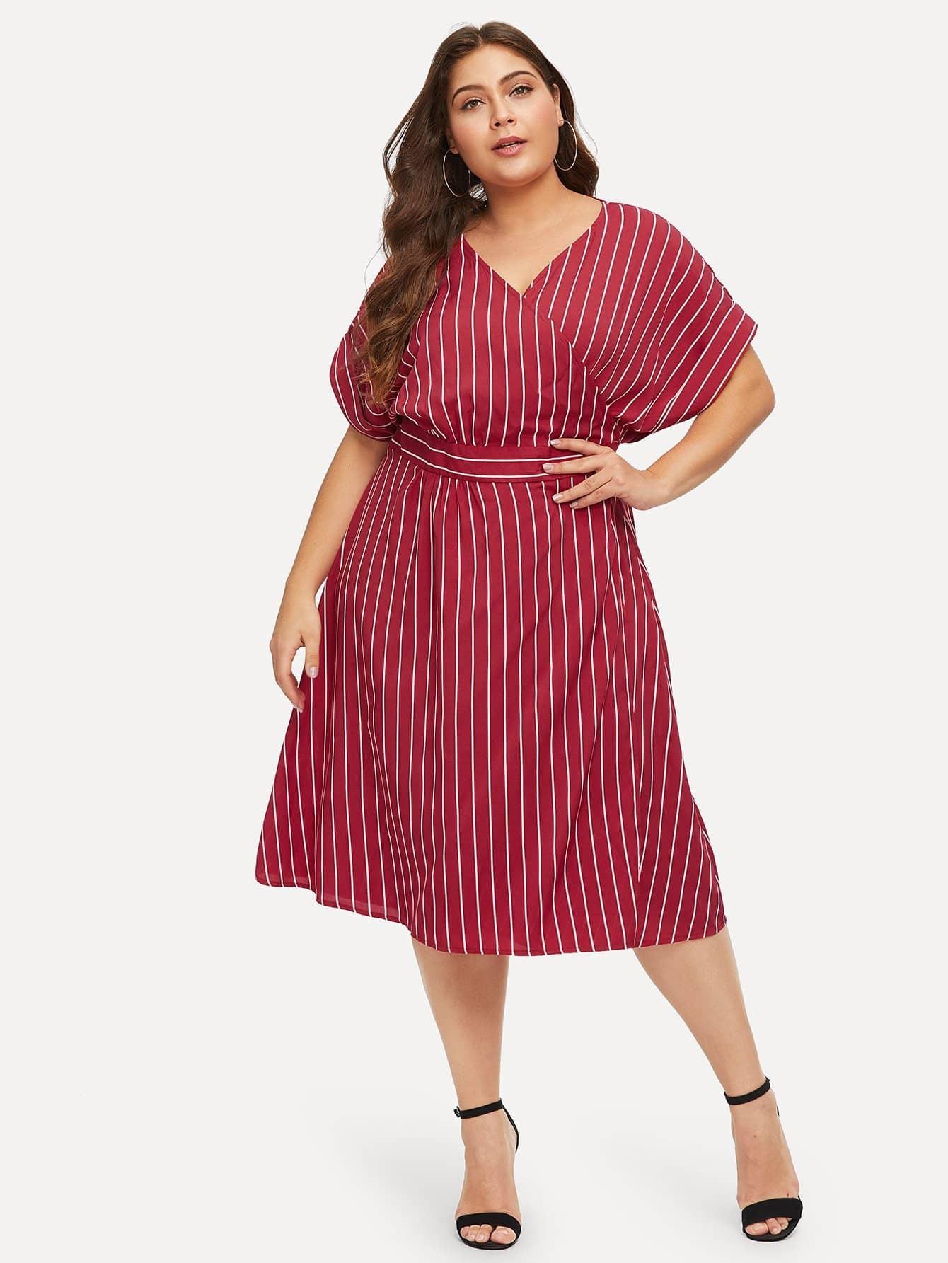 Плюс размеры платье в полоску с поясом