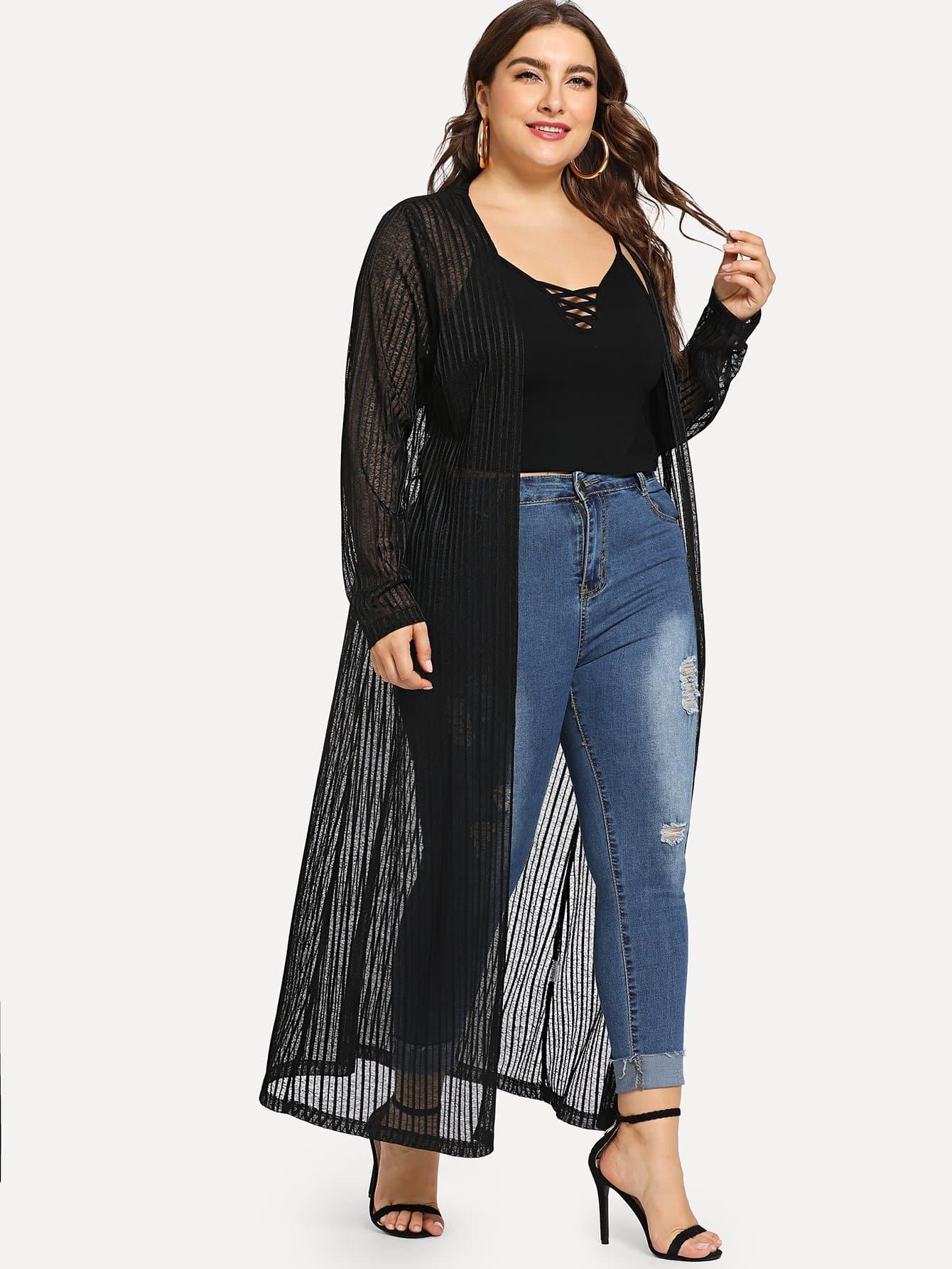 Купить Размера плюс полосатое пальто с низким V-образным вырезом, Franziska, SheIn