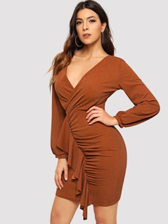 Ruched Glitter Wrap Dress