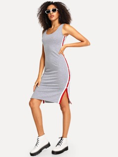 Striped Side Fitted Shell Dress