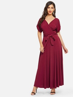 Rolled Cuff V Neck Dress