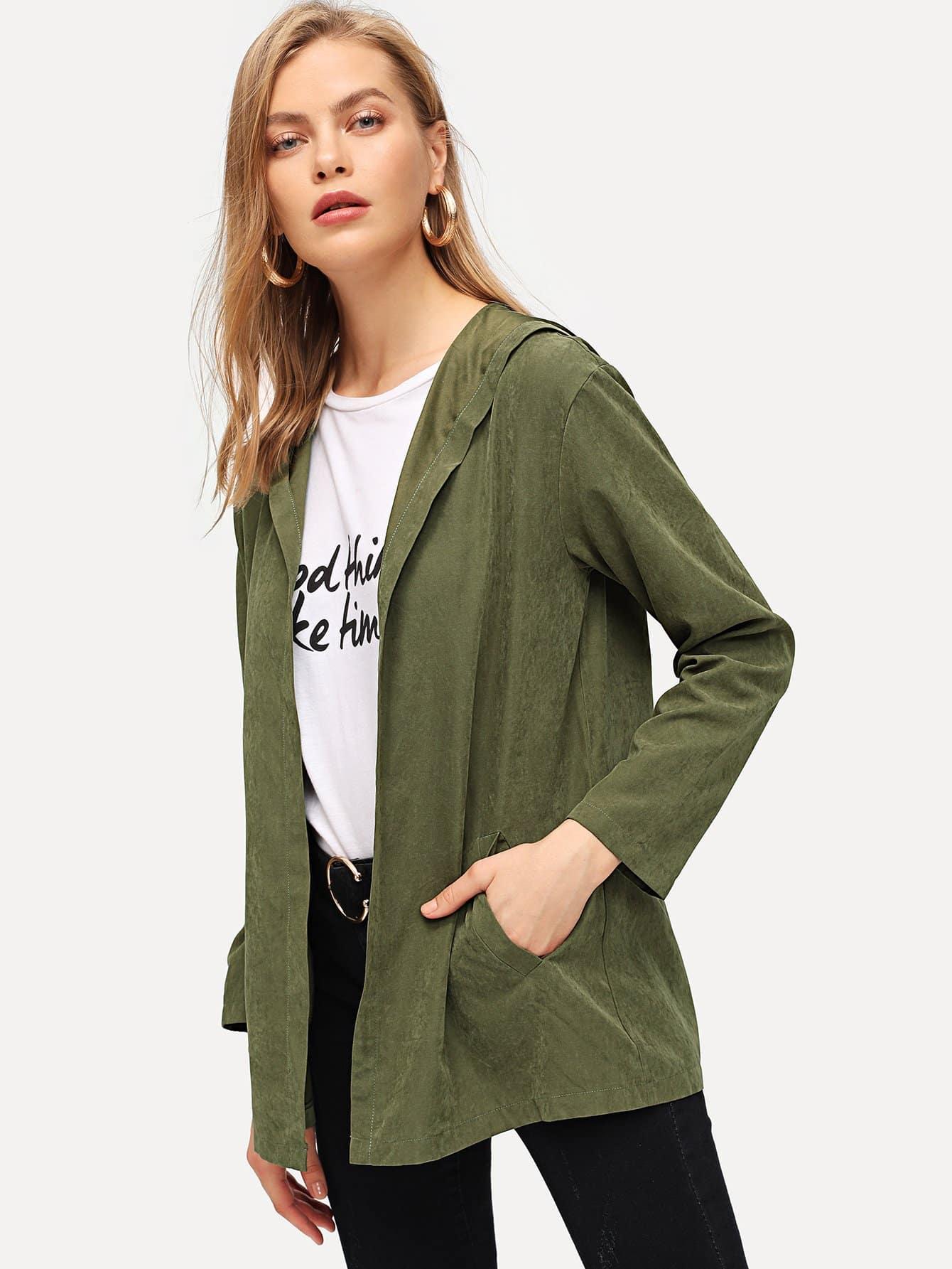 Купить Открытой передней пальто с капюшоном, Kate C, SheIn