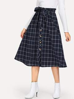 Button Detail Grid Flare Skirt