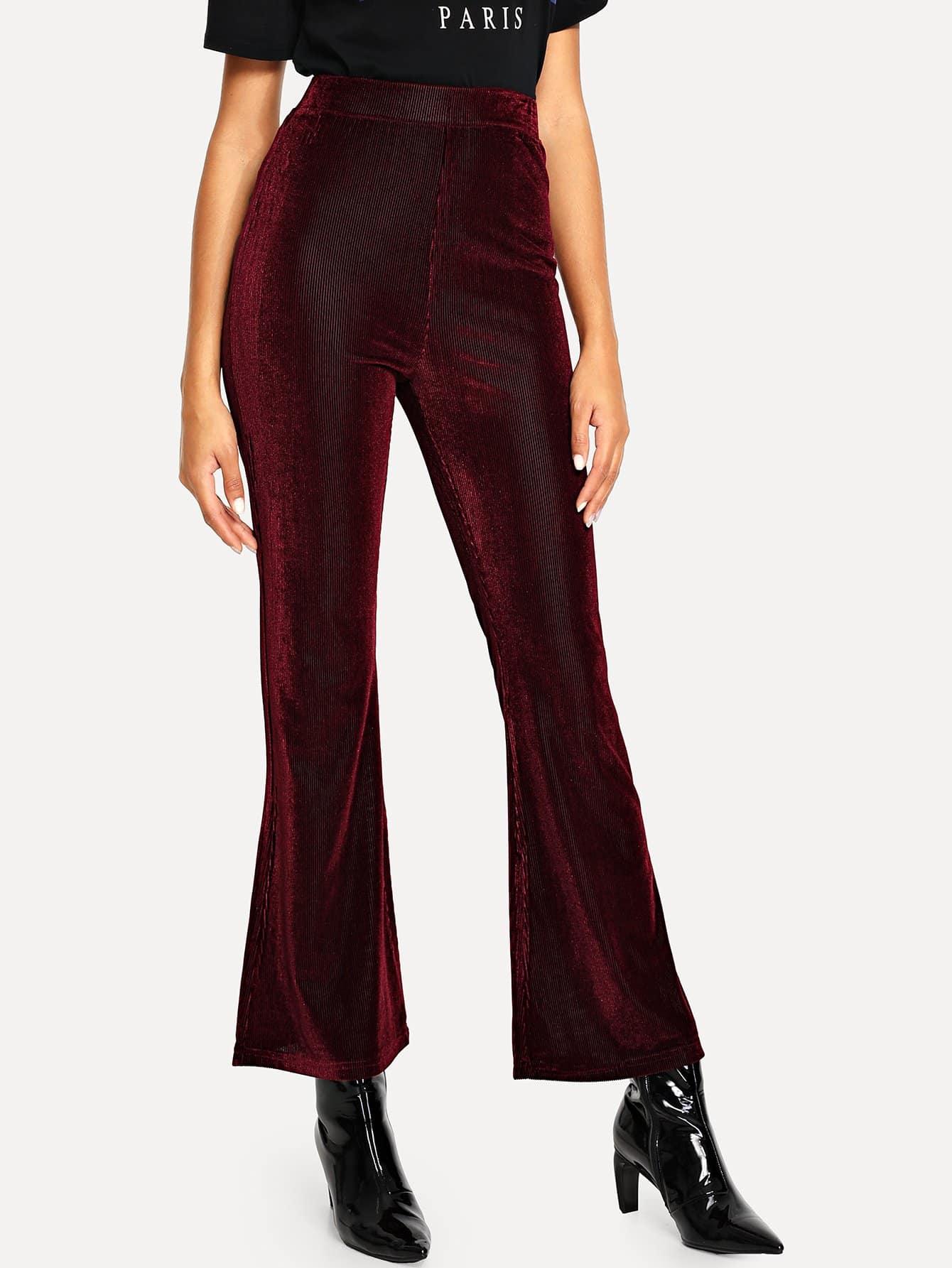 Купить Бархатные расклешенные брюки с широкой талией, Elaine, SheIn