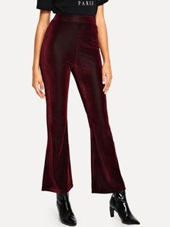 Velvet Wide Waistband Flare Hem Pants