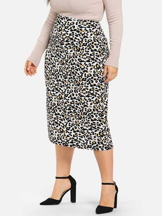 3e1edbef75a Plus Leopard Print Pencil Skirt