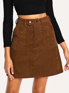 Pocket Patched Cord Skirt