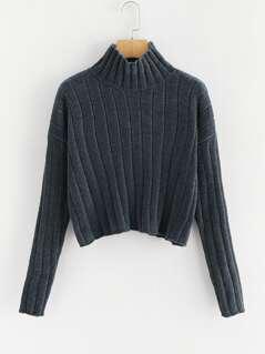 High Neck Rib Knit Chenille Sweater