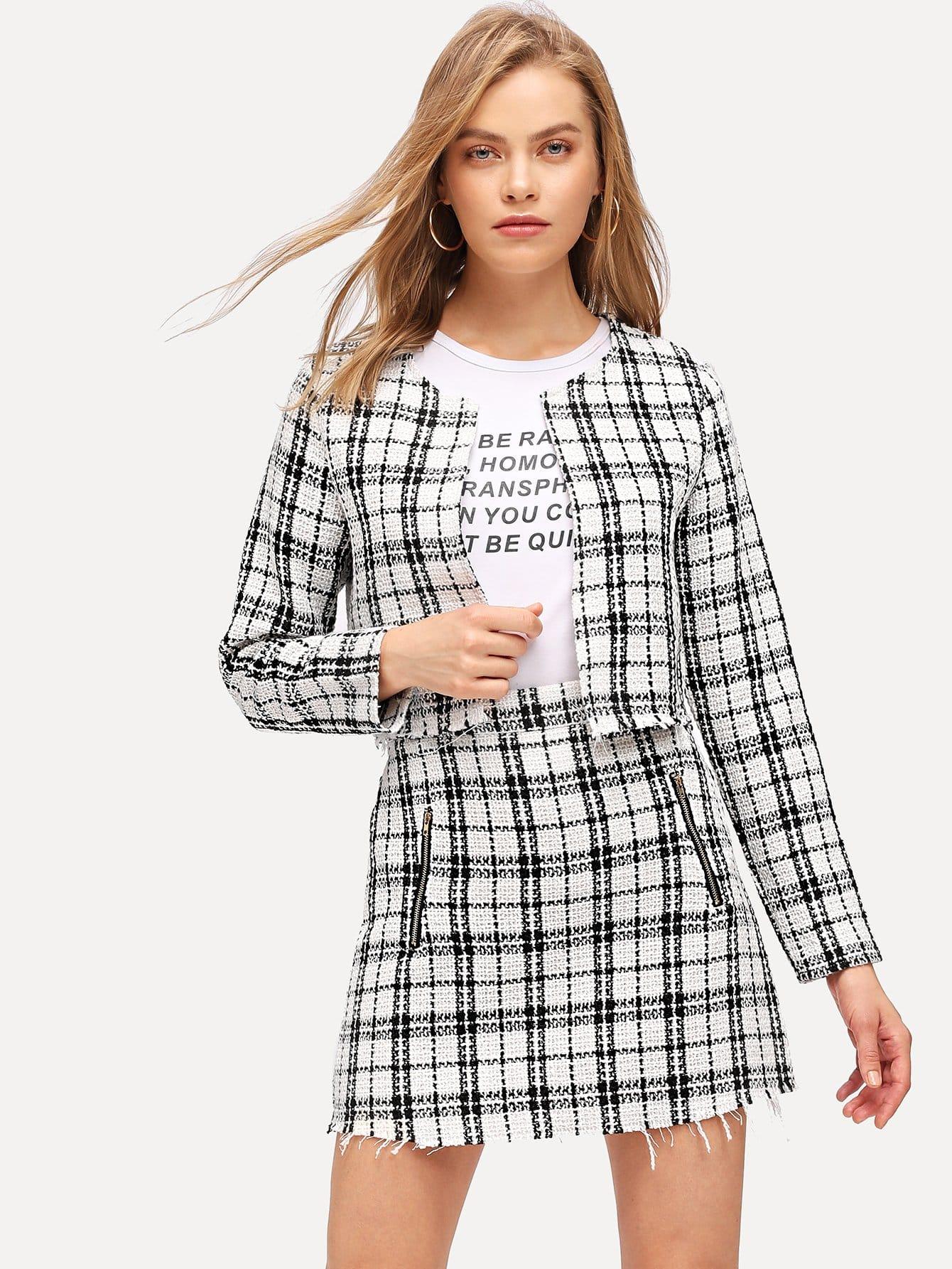 Фото - Пальто в клетку и юбка с необработанным низом от SheIn цвет чёрнобелые