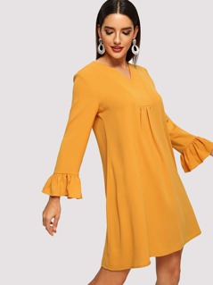 Bell Sleeve Gathered Front Trapeze Dress