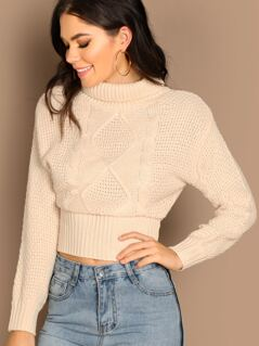 Fold Over Turtleneck Pattern Knit Pullover Sweater