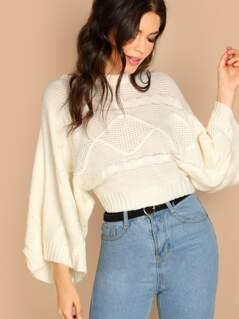 Pattern Knit Dolman Sleeve Crop Pullover Sweater