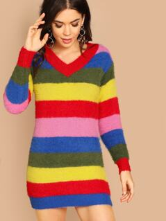 Fuzzy Knit Striped Colorblock Sweater Dress