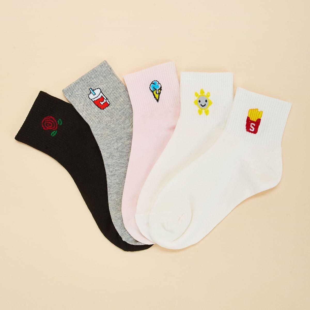 Meerdere patroon enkel sokken 5pairs