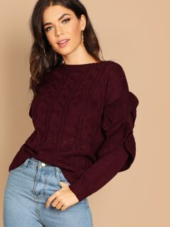 Ruffle Sleeves Cable Knit Pullover Sweater
