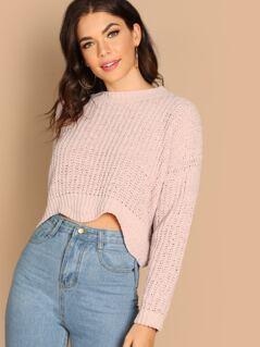Chenille Rib Knit Round Neck Pullover Sweater