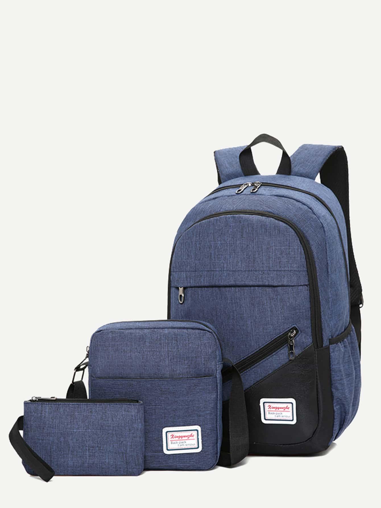Купить Мужский рюкзак с застёжкой молния и кошельком 3 шт, null, SheIn