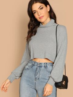 Turtleneck Waffle Knit Long Sleeve Crop Top