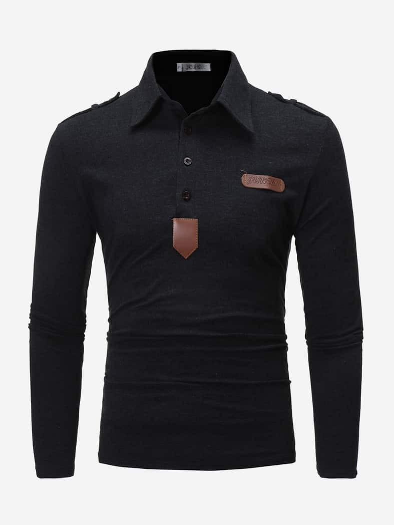 Купить Мужская поло рубашка с заплатой, null, SheIn