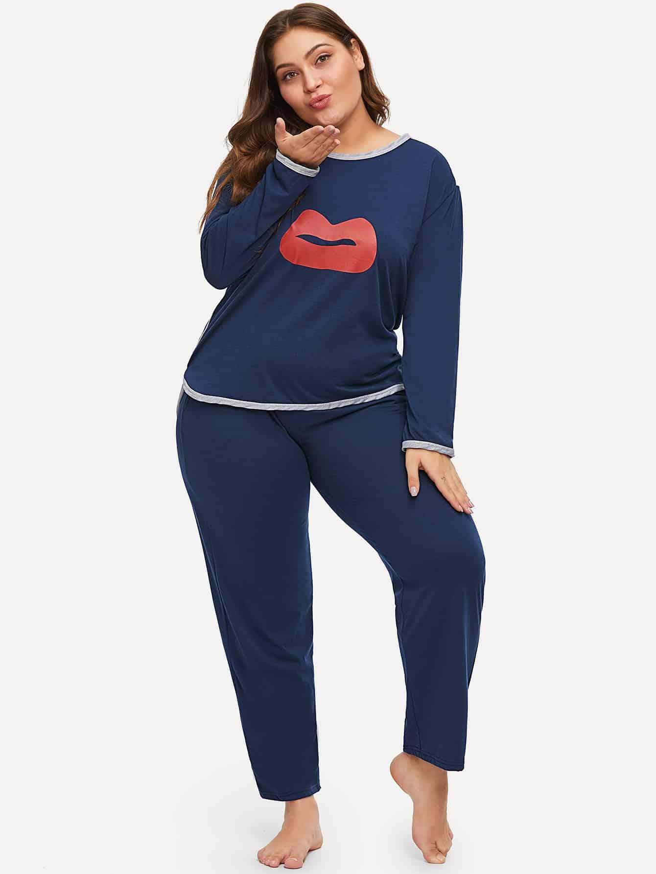 Купить Размера плюс пижама с принтом губы, Carol, SheIn