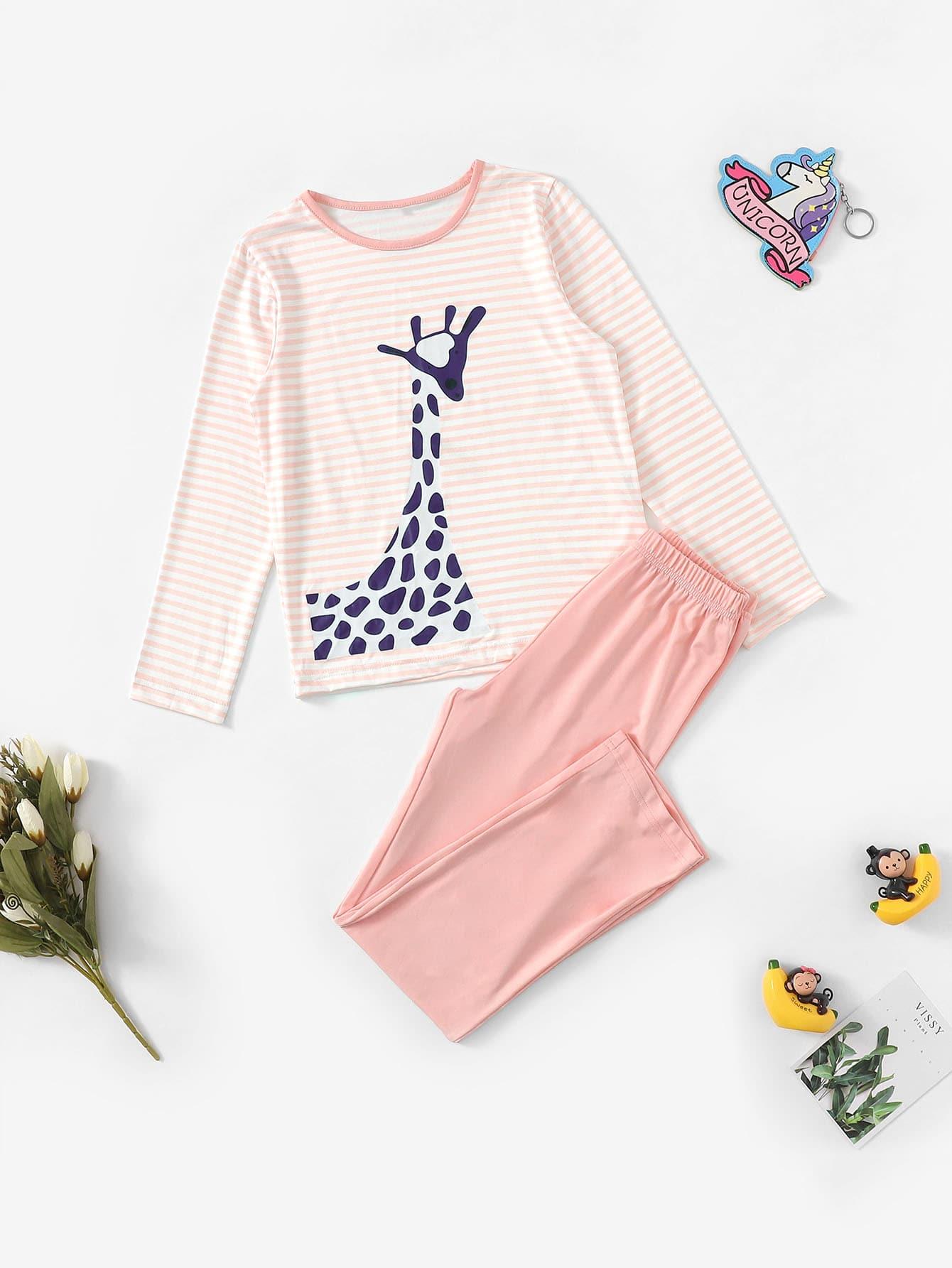 Полосатая пижама с принтом графическим для девочек от SheIn