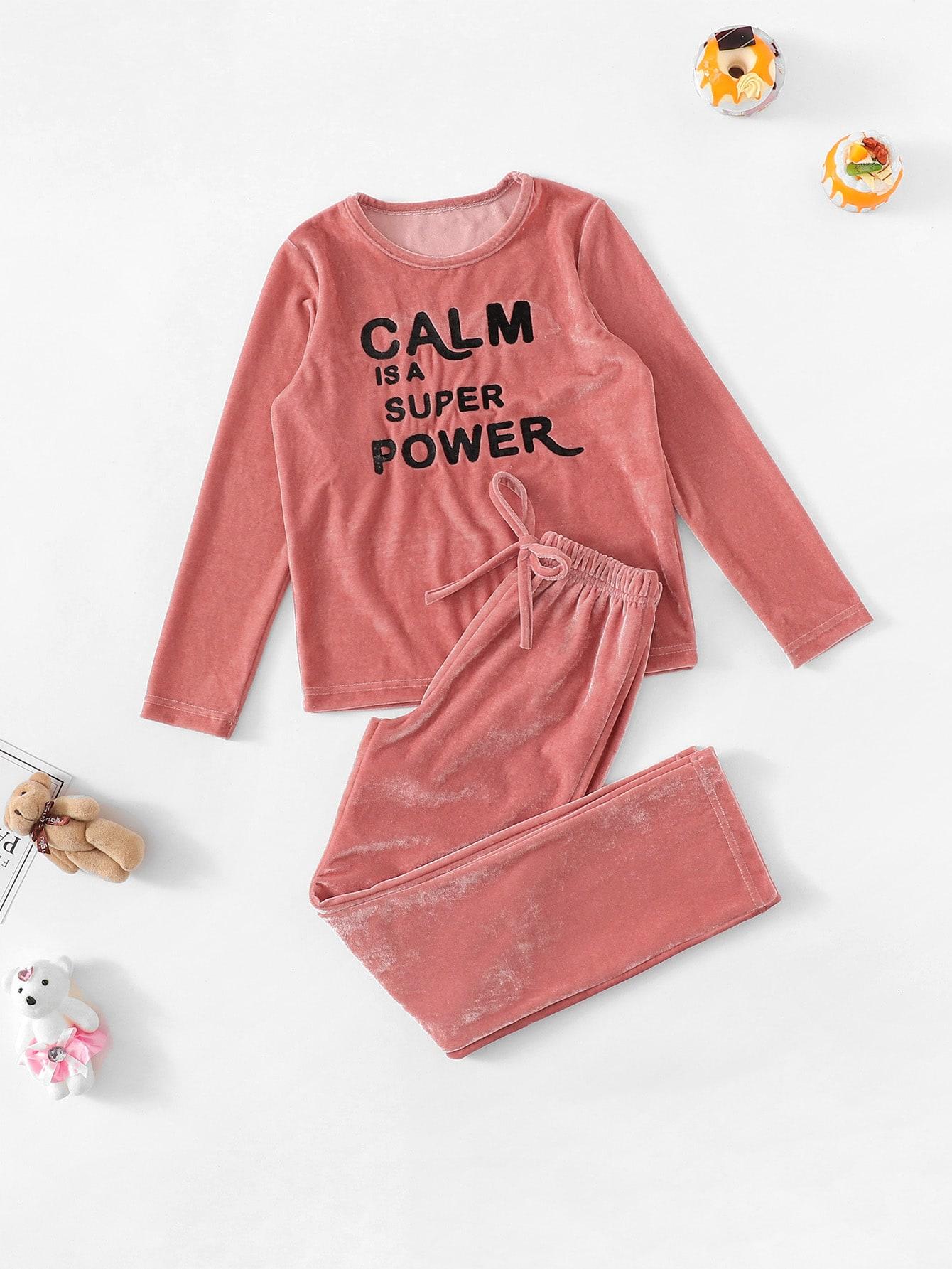 Бархатная пижама с текстовым принтом для девочек от SheIn