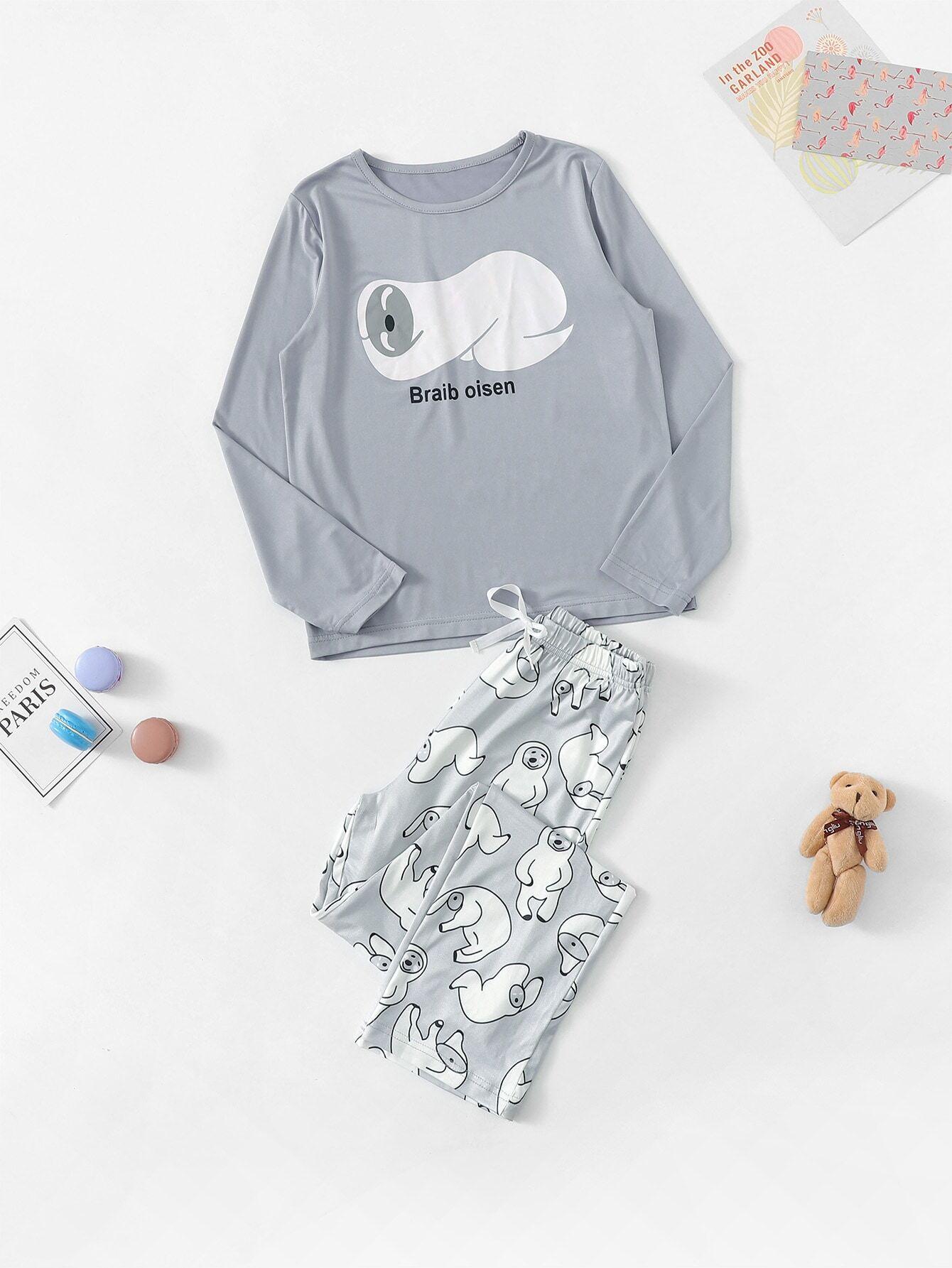 Пижама с принтом мультяшным для девочек от SheIn